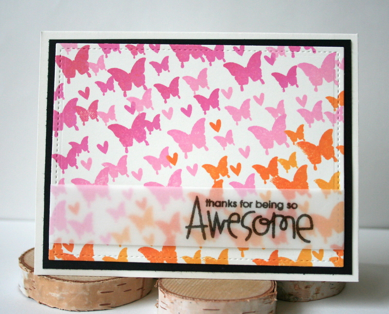 Ombre Stamped Butterfly Card by Jess Moyer featuring Paper Smooches Luminous Spring and Uplifters