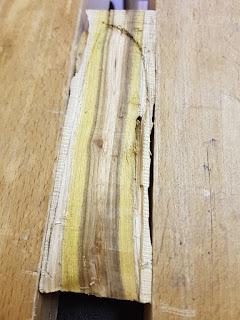 futur fourreau en bois, lame creusée