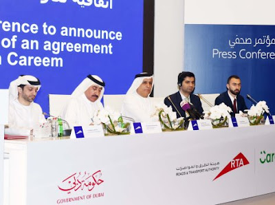 Source: RTA. HE Mattar Al Tayer, Director-General and Chairman of the Board of Executive Directors of RTA and Mudassir Sheikha, Founder and Managing Director of Careem, signed the agreement on behalf of the two respective entities. RTA executives attending the signing included Mohammed Obaid Al Mulla, Member of Board of Executive Directors, Abdullah Yousef Al Ali, CEO of Public Transport Agency, and Adel Shakri, Director of Transportation Systems. Bassel Al Nahlaoui, VP of Business Development & Government Relations attended on behalf of Careem.