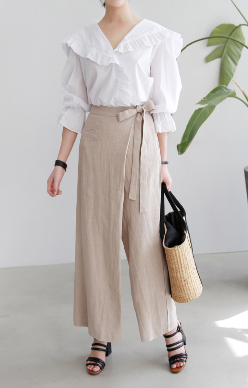 Faux Wrap Wide-Leg Pants