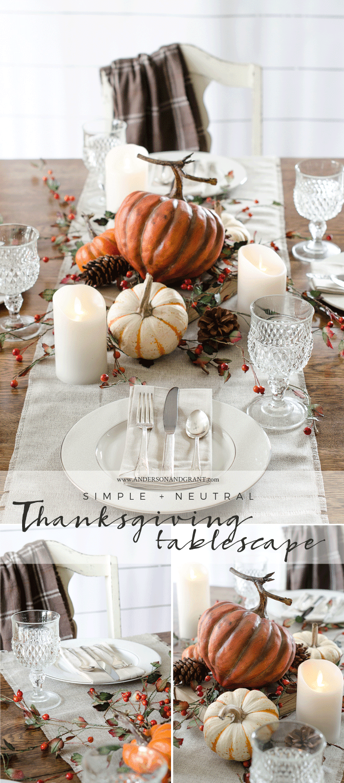 There are so many pretty details in this simple and neutral fall tablescape from anderson + grant.