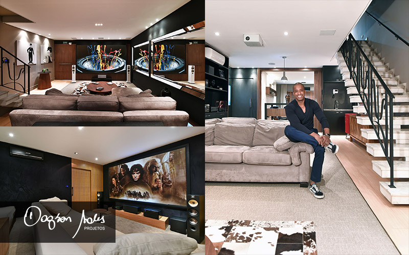 Os melhores projetos de salas de home cinema com caixas B&W e automação residencial no Jd. Anália Franco | Dagson Sales Projetos
