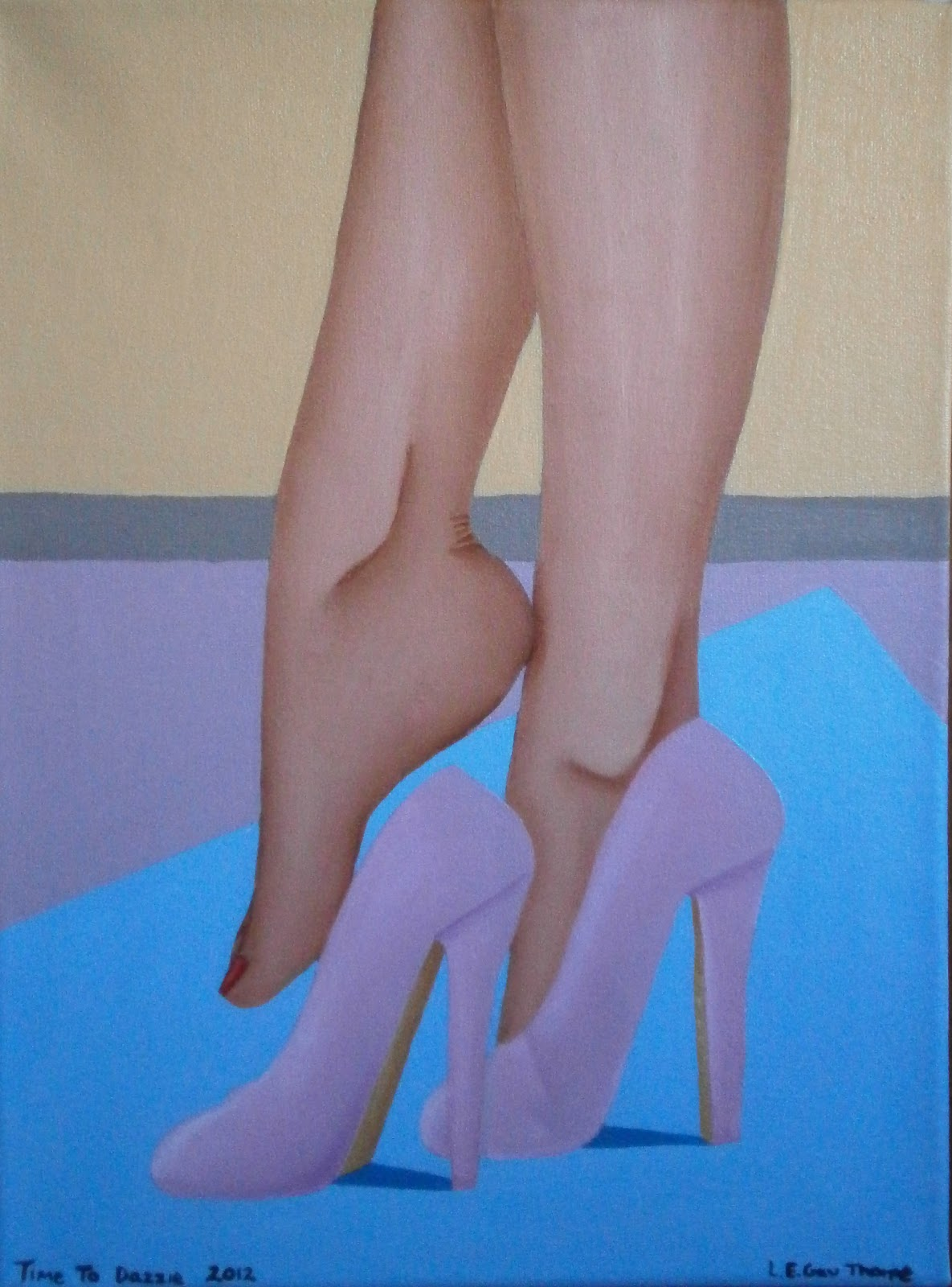 A woman putting on some very high pink heels