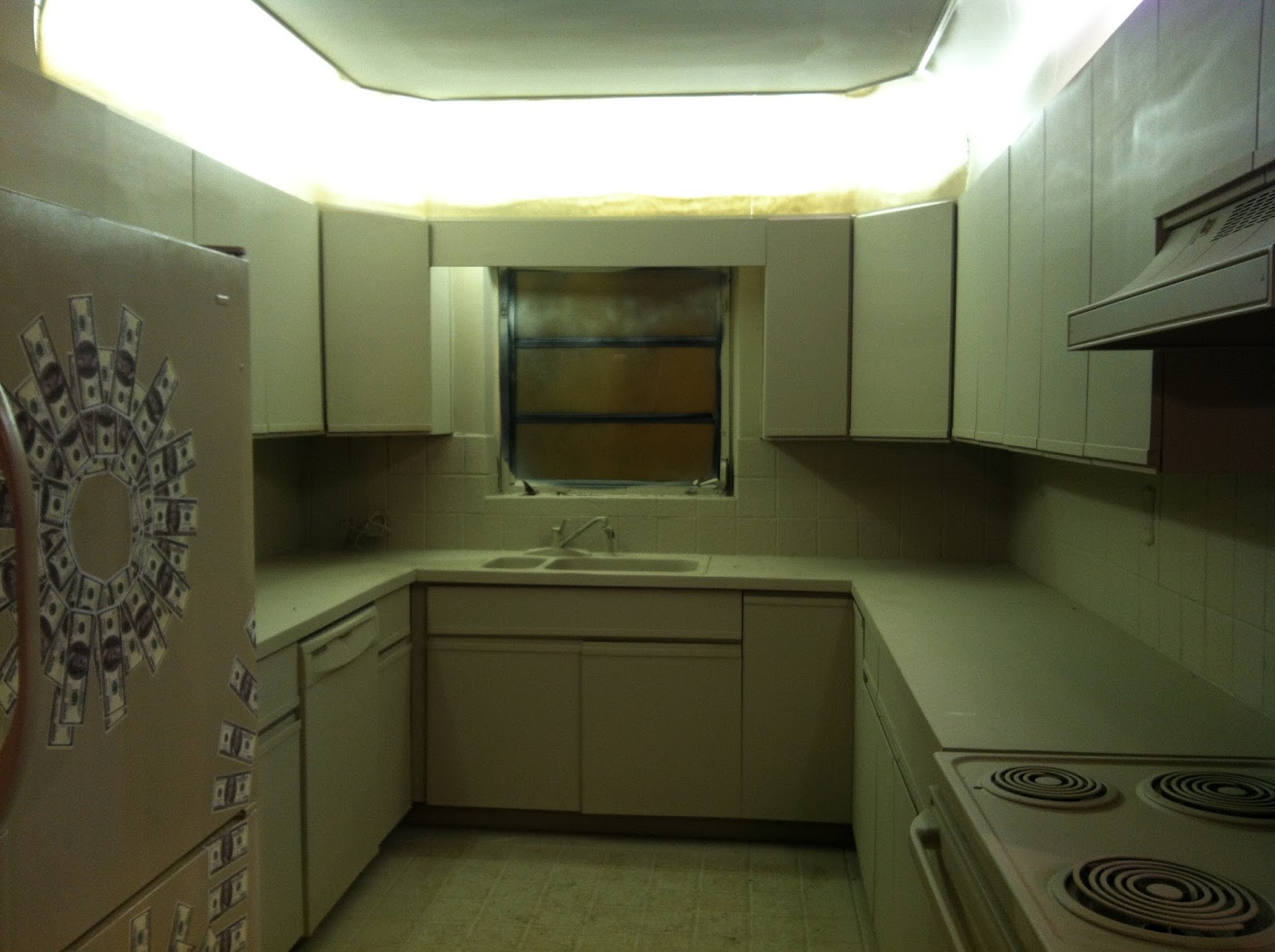 Whole Kitchen Painted Creamy Walls And Cabinets