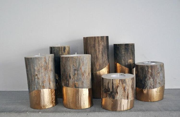 12 velas diy, velas dentro de troncos