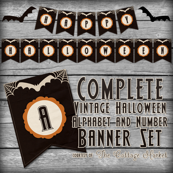 The complete Halloween banner set with vintage font letters and numbers - perfect for a halloween party!