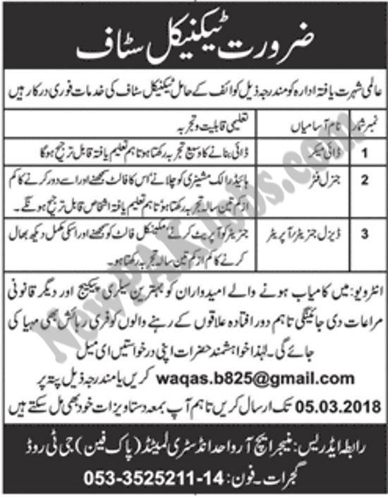 Private Jobs in Wahid Fan Industries Ltd