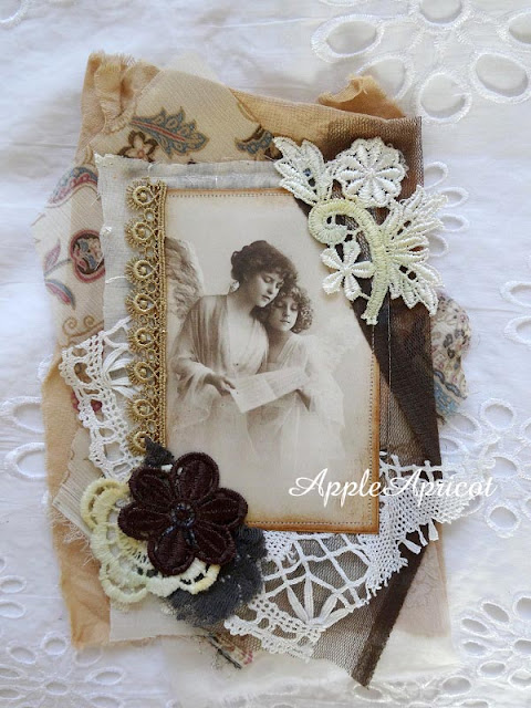 fabric and lace card by AppleApricot