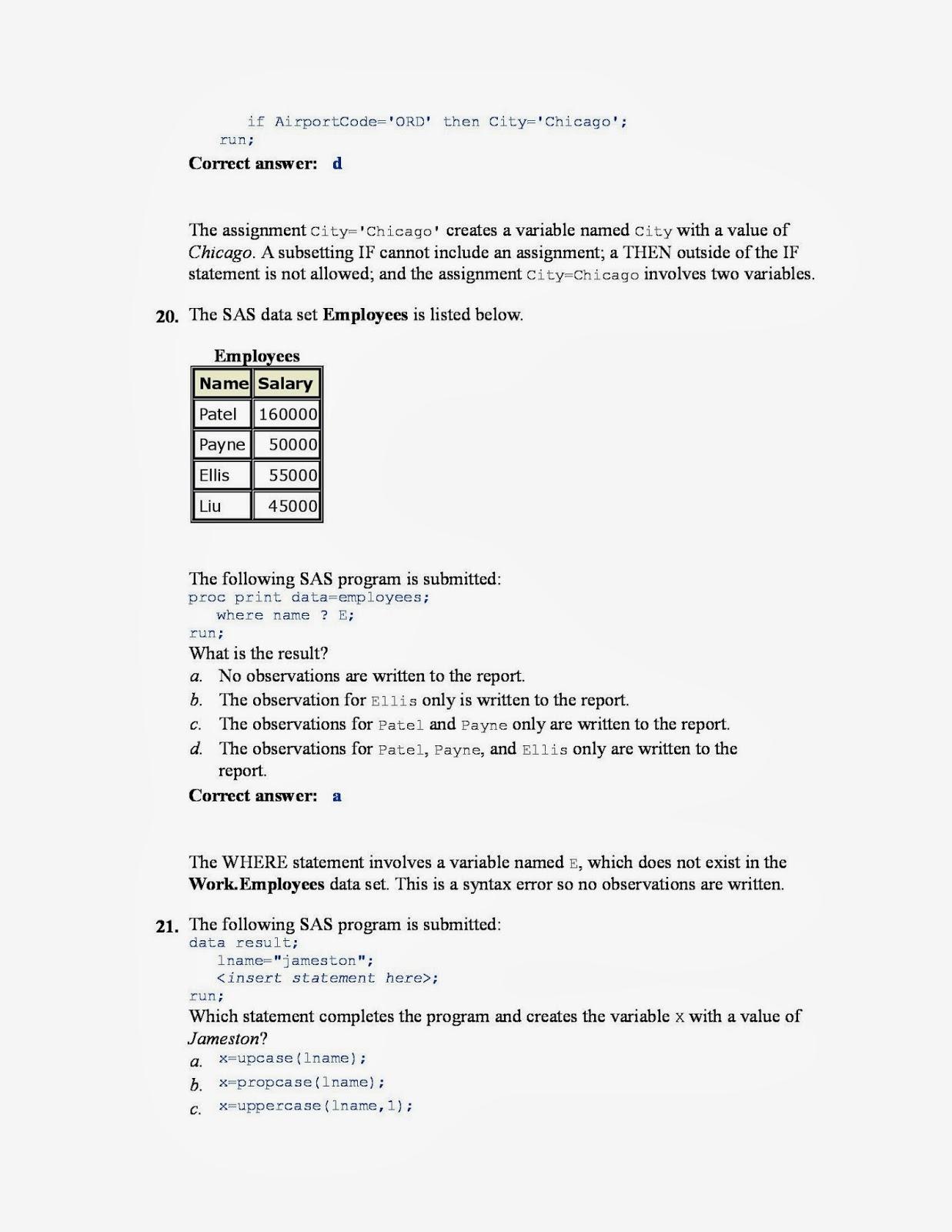 sas base certification questions sample