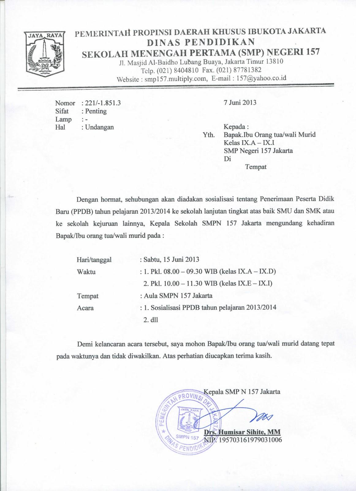 Undangan Rapat Sosialisasi Ppdb 20132014 Smp Negeri 157 Jakarta