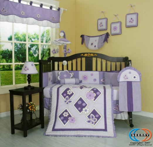 Budget Wise Gray Grey And Lavender Crib Sets 13 Pce Erfly Nursery Bedding For Baby S