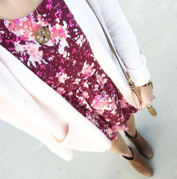 ootd, ankle boots, fall floral dress