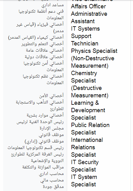 وظائف هيئة الرقابة النووية والاشعاعية مصر