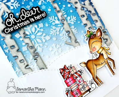 Oh, Deer Christmas is Here Card by Samantha Mann for Newton's Nook Designs, Christmas card, cards, stencil, embossing paste, distress inks, ink blending #newtonsnook #christmas #cards #stencil