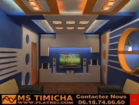 Decoration platre plafond et plasma maroc