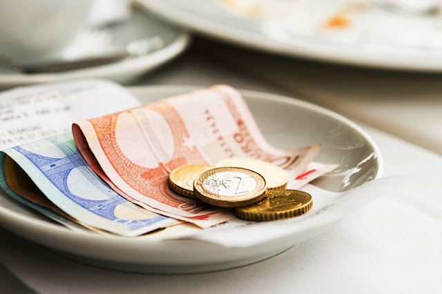 Gorjeta em euros