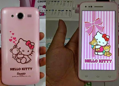 Spesifikasi Cross A7S Hello Kitty        Cross A7S Hello Kitty merupakan produk smartphone dengan identitas perempuan, yaitu cangkang berwarna putih atau pink dengan ornamen-ornamen Hello Kitty.      Tidak hanya ornamen luarnya saja, tetapi wallpaper dan aplikasi-aplikasi di dalamnya juga dipenuhi dengan karakter Hello Kitty. Pengguna ponsel cerdas perempuan perlu identitas sendiri, yaitu smart and cute.      Cross A7S Hello Kitty menggunakan sistem operasi Android V4.1 Jelly Bean dengan CPU 1GHz Dual Core. Produk yang memiliki kapasitas memori internal 4GB ROM dan 512 MB RAM itu juga dilengkapi dengan kamera belakang 8MP auto fokus dan kamera depan 1,3MP. Smartphone ini memiliki layar 4,5 inci berteknologi IPS dengan resolusi 960 x 540. Layarnya juga mendukung sentuhan hingga 5 titik.  Kelebihan  Layar berukuran lebar yaitu 4,5 inci yang membuat pengguna begitu leluasa dalam menavigasi menu menu layar  Resolusi yang cukup tinggi yaitun 960 x 540 piksel  Layar menggunakan teknologi IPS sehingga menampilkan gambar yang lebih realistis dan memiliki sudut pandang yang lebar.  Telah mendukung jaringan 3G HSDPA yang menawarkan kemampuan akses internet yang cepat  Kapasitas penyimpanan internal cukup besar yaitu 4 GB  Adanya slot penyimpanan eksternal jenis microSD, sehingga pengguna bisa mengupgrade kapasitas penyimpanan hingga 32 GB