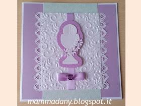 4step card Prima Comunione lilla