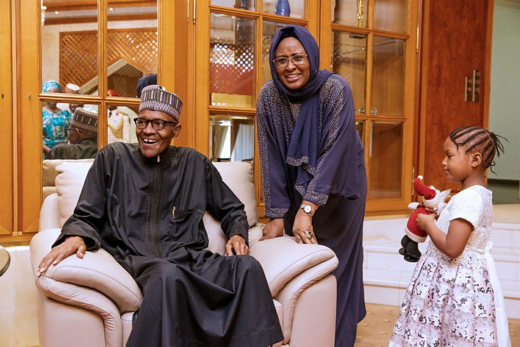Buhari-Aisha return Nigeria.j pg