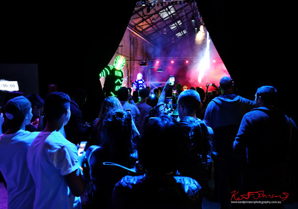 The curtains open for the UE Boom 2 Launch at Carriageworks Sydney #PartyUp photographed by Kent Johnson for Street Fashion Sydney.