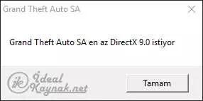 Grand Theft Auto SA en az DirectX 9.0 istiyor
