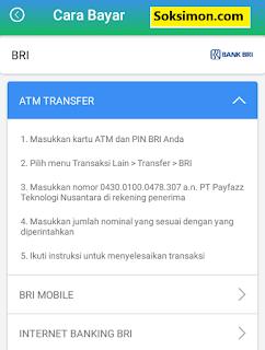 Cara bayar Payfazz metode trasnfer bank di ATM