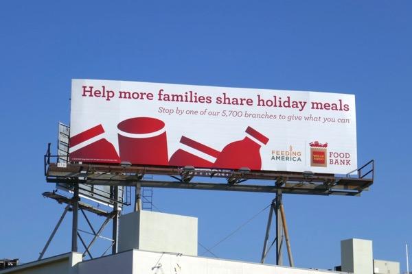 families holiday meals Wells Fargo Food Bank billboard
