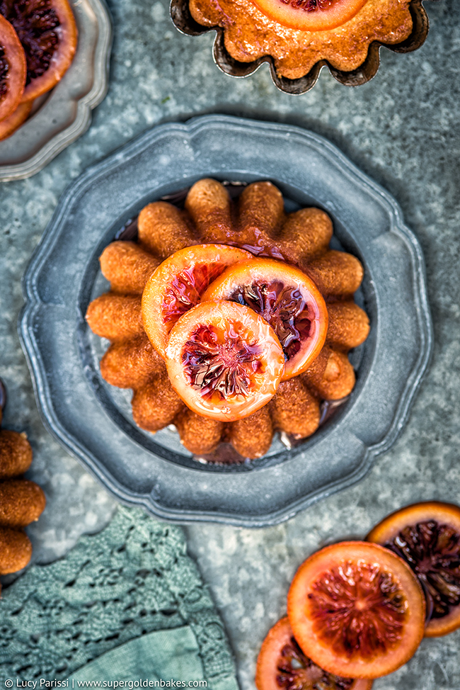 Olive oil and semolina syrup cakes with candied blood oranges ...