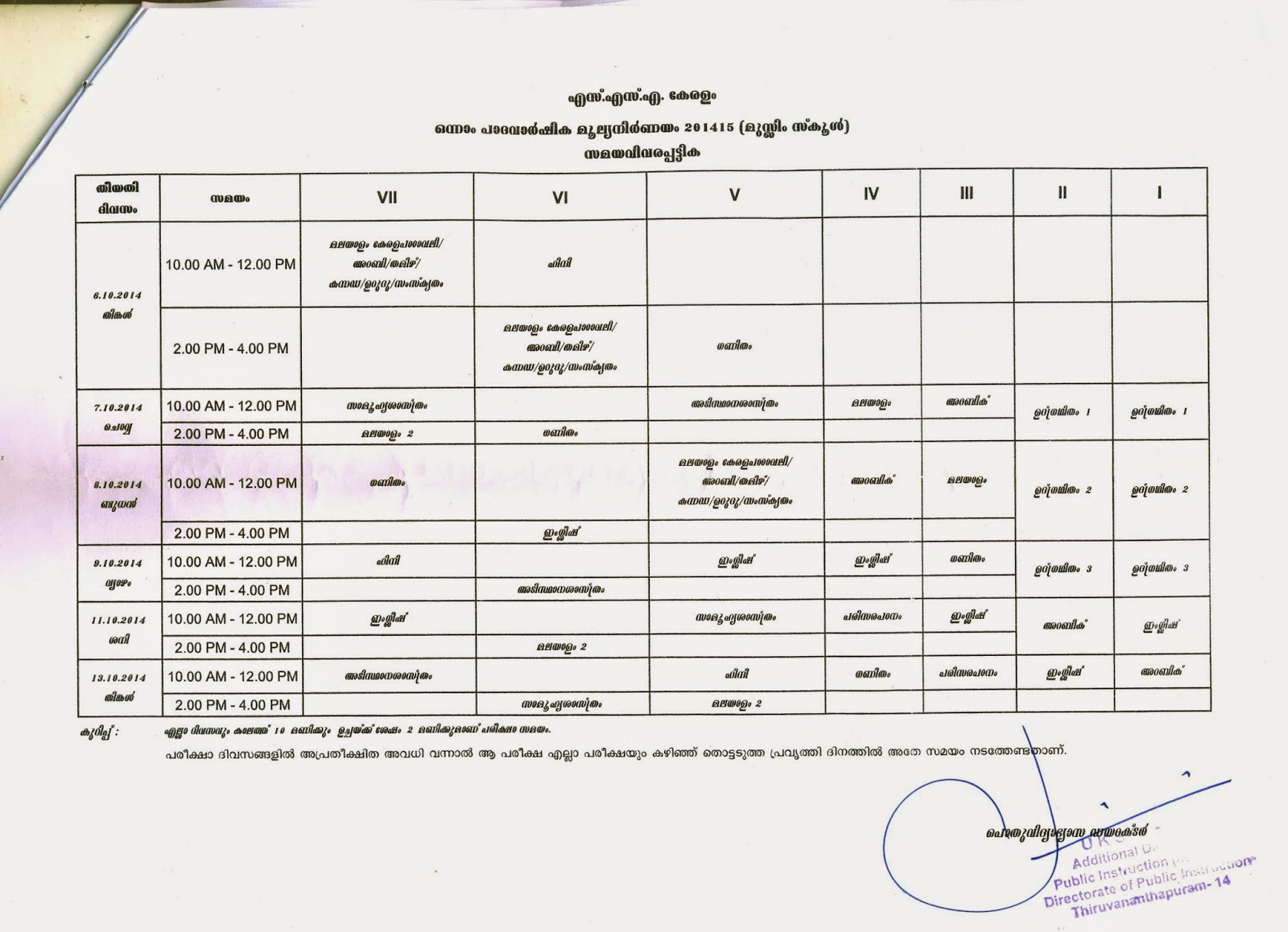 TIRUR BRC: FIRST TERMINAL EXAMINATION TIME TABLE 2014-2015
