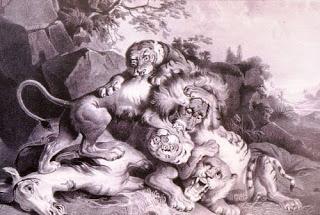 Lukisan Karya Raden Saleh dengan Judul The Struggle; Medium : Oil paint, Canvas; Tahun Pembuatan : 1811-1880; Deskripsi : Berasal dari koleksi slide Sejarah Seni Rupa Indonesia