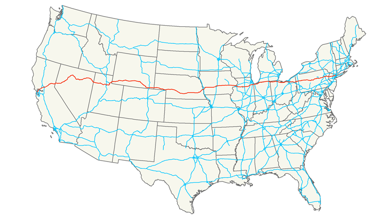 U.S. Route 50 or US 50 is a major east–west route of the U.S. Highway system, stretching just over 3,000 miles or 4,800 km from Ocean City, Maryland on the Atlantic Ocean to West Sacramento, California.