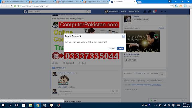 Delete Comment  Click on delete to confirm button -Facebbok