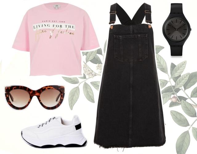 Want to wear outfit met zwarte spijkerjurk denim overgooier roze boyfriend shirt platform plateau sneakers river island