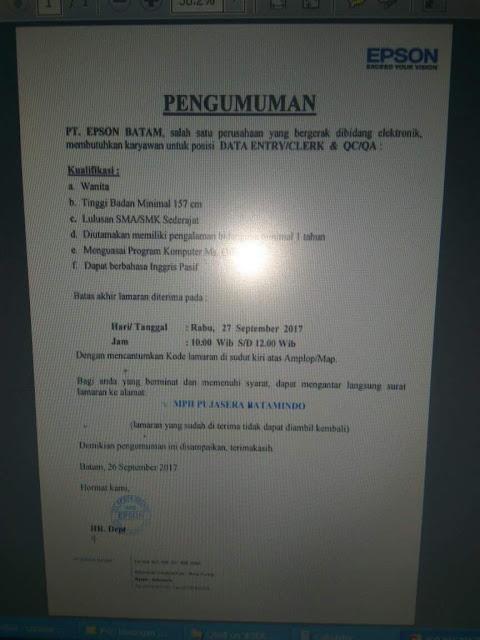 Lowongan Kerja PT. Epson Batam