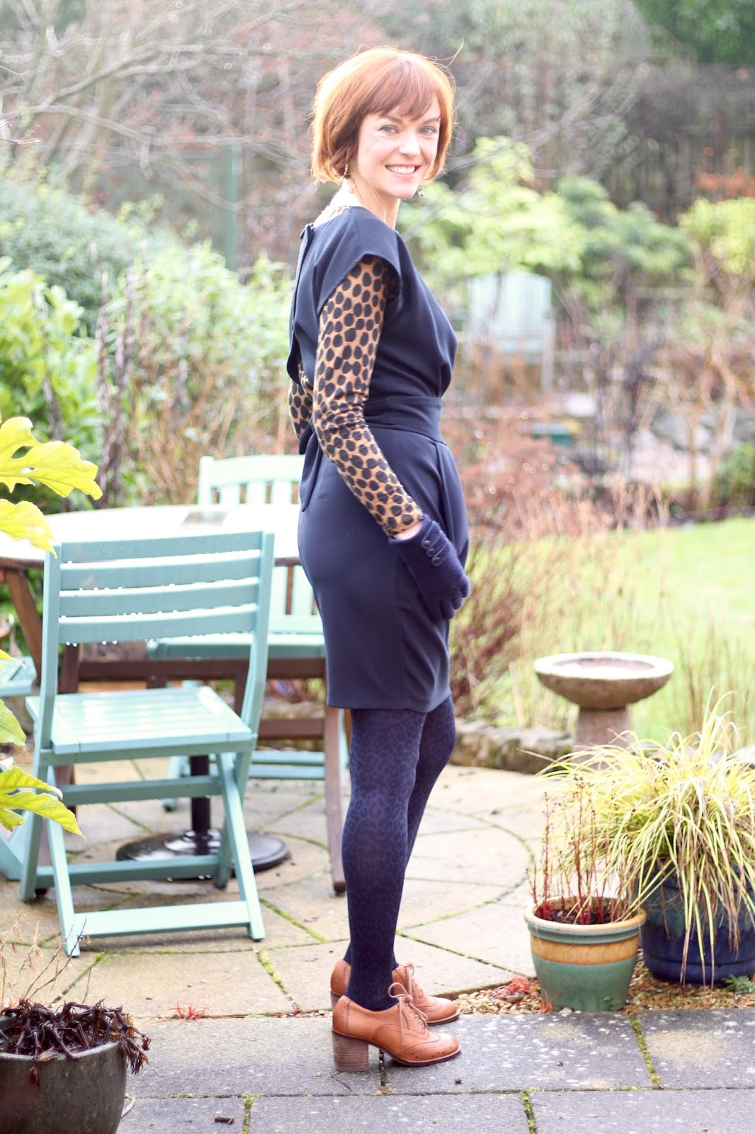 Navy Shift Dress, Leopard Tights & Block Heel Brogues | Fake Fabulous