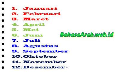 Bahasa arab nama-nama bulan masehi