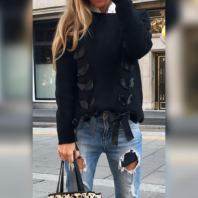 Μακρυμάνικη μαύρη γυναικεία μπλούζα HALIMA