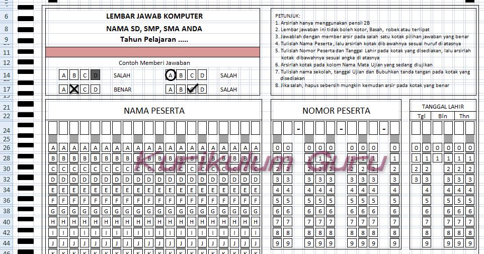 Download Lembar Jawaban Komputer Ljk Untuk Sd Smp Sma