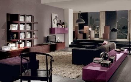 Salas en violeta y gris   ideas de salas con estilo