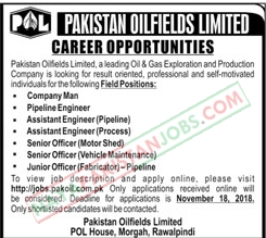 Latest Vacancies Announced in Pakistan Oilfields Limited POL 12 November 2018 - Naya Pakistan