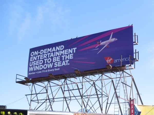 On-demand entertainment window seat Virgin billboard