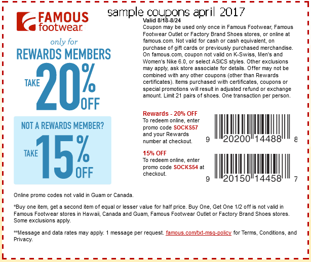 Famous footwear coupon codes november 2018