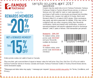 free Famous Footwear coupons april 2017