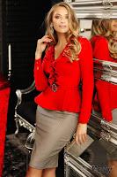 Camasa Fofy rosie cu dantela catarama din strasuri decolteu in V