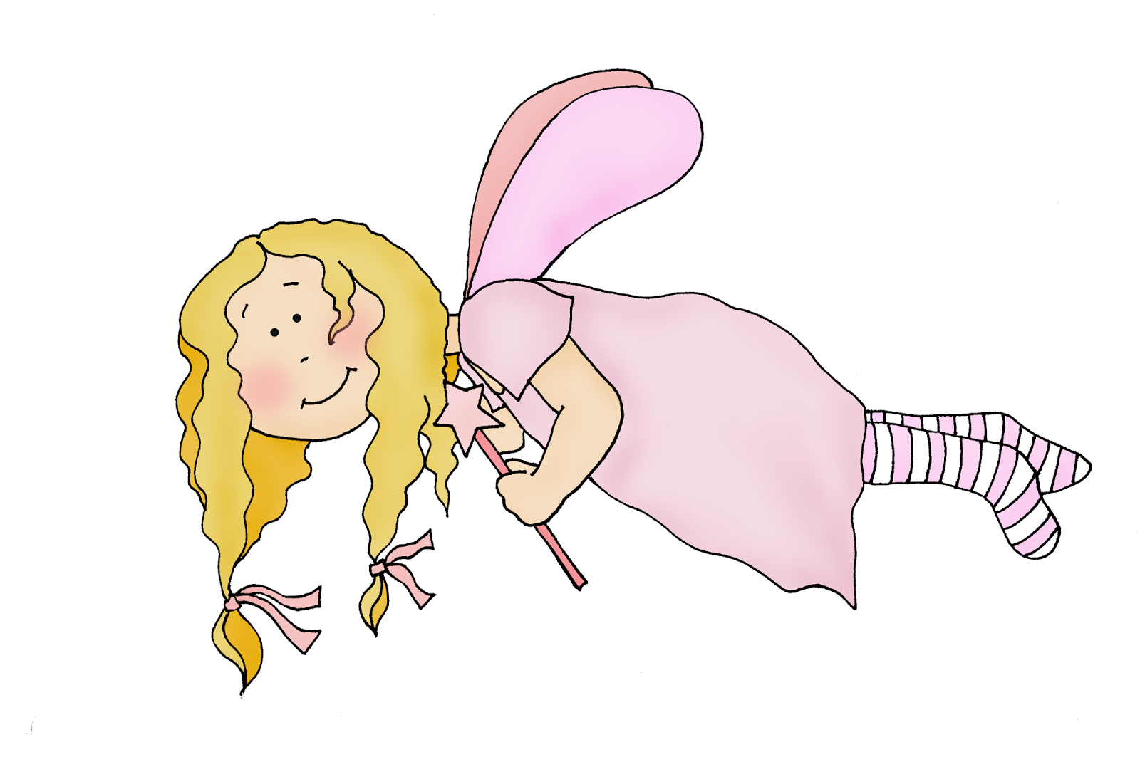 show me more fairy flying colouring pages
