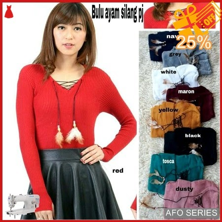 AFO728 Model Fashion V neck Silang PJ Bulu Murah BMGShop