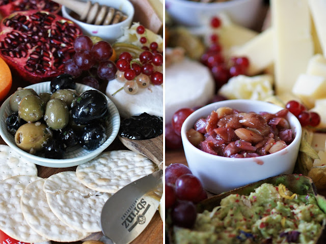 Chäsplättli Ideen mit Schweizer Käse und Trauben Zwiebel Chutney