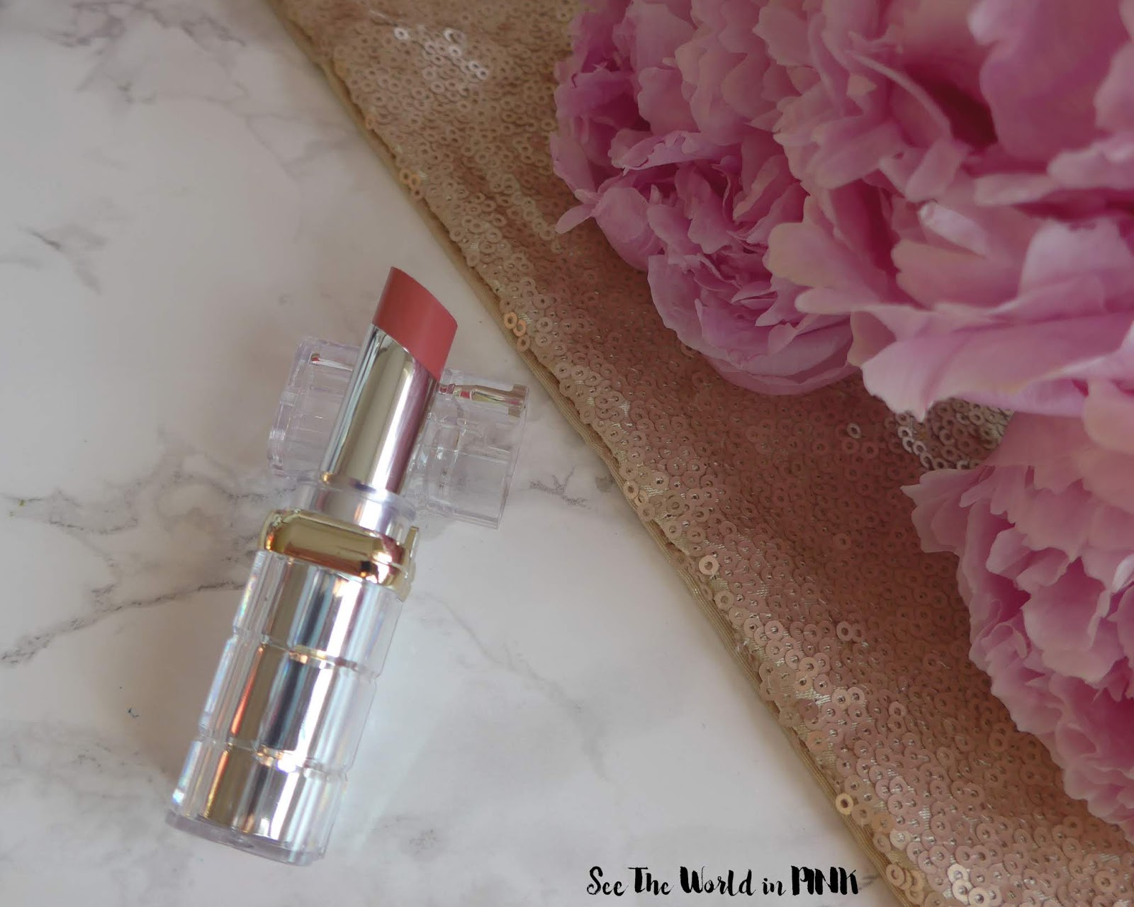l'oreal colour riche shine lipstick in sparkling rose