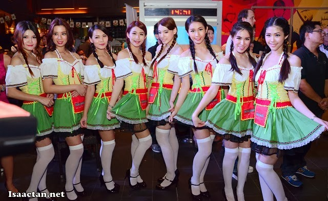 A group shot of these lovely Carlsberg Dirndl girls fully decked in their outfits