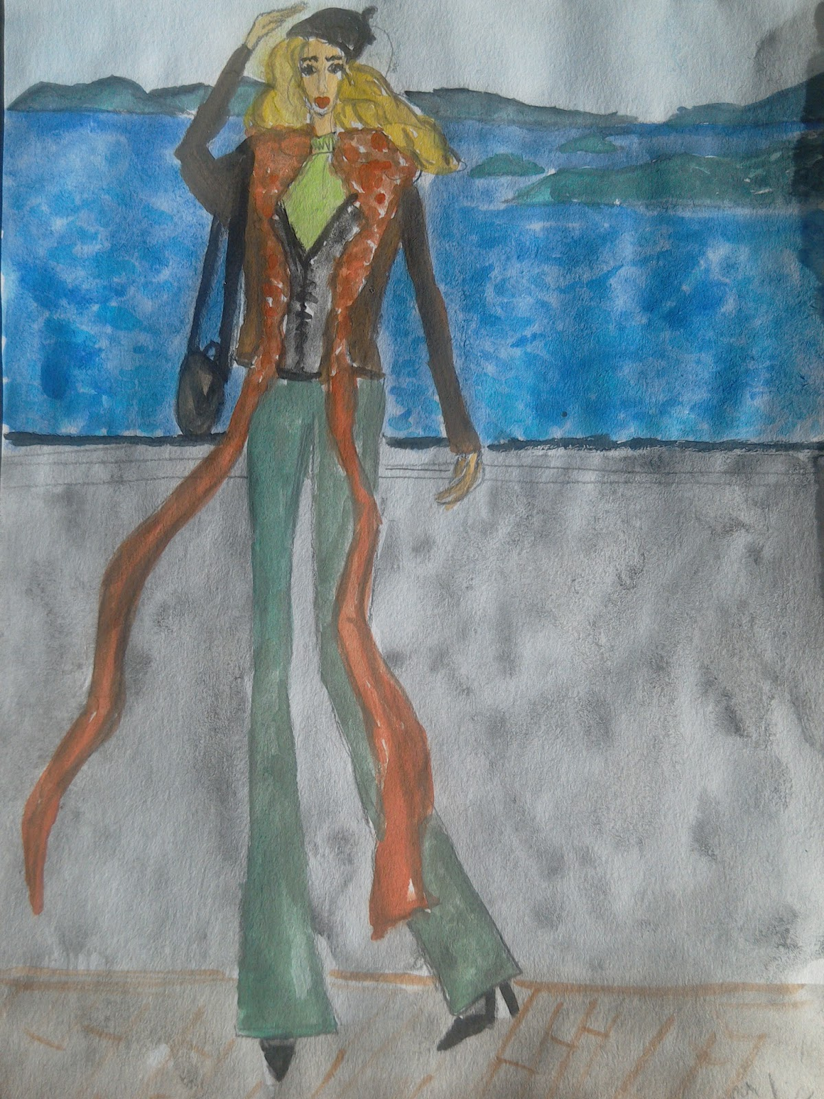 Fashion illustration of the day (olive flared jeans: green trend report)